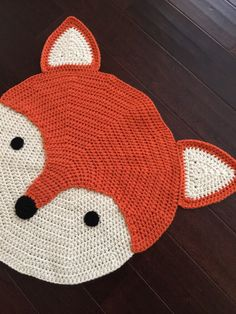 Crochet Fox Rug hand made rug Crochet rug by PeanutButterDynamite One of our FAVORITE creations is ( Linus) the most adorable fox rug. 26 round and comes in a wonderful pumpkin orange and off-white. Our original design and pattern © Copyright 2011 Desmon Crochet Panda, Crochet Fox, Crochet Sock Monkeys, Crochet Carpet, Crochet Elephant, Crochet Amigurumi, Crochet Socks, Crochet Animals, Crochet For Kids