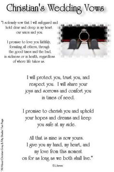 Christians wedding vows!!!