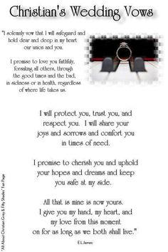 Christians wedding vows!!!