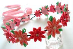 Pink Kanzashi Fabric Flower Wreath. Pink bridal hair by JuLVa