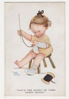 Mabel Lucie Attwell, Thats The Worst Of Them Cheap Socks! Postcard, B299 in Collectables, Postcards, Artist Signed | eBay