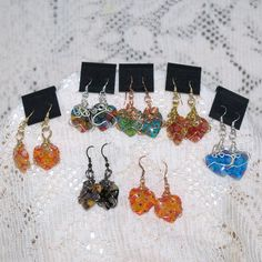Mille Flora Glass Heart Earrings Wire Wrapped (One pair) * Don't get left behind, see this great product : Handmade Gifts