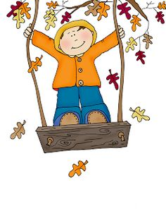 free Dearie Dolls digi stamp of a little guy on a swing while Autumn leaves fall around him Autumn Illustration, Boy Illustration, Fall Clip Art, Calendar Pictures, Image Clipart, Fall Pictures, Autumn Activities, Cute Characters, Autumn