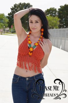 Halter top available in any size and color.    Size Medium (B-C Cup) Pictured.    Crochet top perfect to wear on the beach, at a festival or at