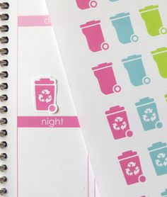 32 Trash Can/24 Recycle Stickers for Erin Condren Planner Filofax Plum Paper (4.00 USD) by KGPlanner