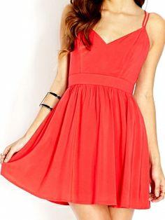 Red V Neck Crossed Spaghetti Straps A-line Dress