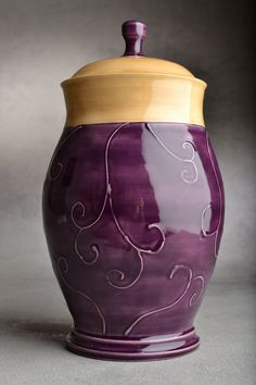 Wheel Thrown Purple and Mocha Slip Trailed Lidded Jar by Symmetrical Pottery