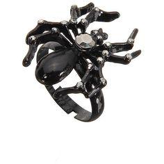 Yoins Black Spider Ring ($4.08) ❤ liked on Polyvore featuring jewelry, rings, accessories, black, bracelets, animal print bracelet, kohl jewelry, black jet jewelry, bracelet ring y plastic rings