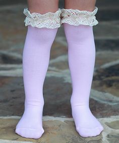 Pink & Cream Lace Socks
