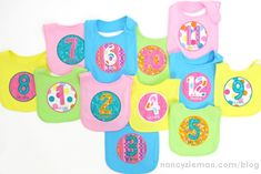 Embroidered Baby Bibs to Celebrate Milestones Looking for that perfect baby gift? Embroider milestone baby bibs. These 12 bibs are sure to bring smiles and be used first as photo props to record ea...