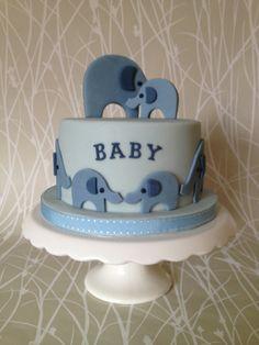 Blue elephants baby shower cake by Caroline's Cakey Loveliness