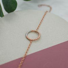 Circle Charm Bracelet - Rose Gold & White Rhodium - Judith Peterhoff