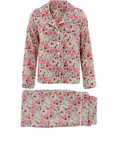 Liberty Print Blue Elysian Cotton Long Pyjama Set