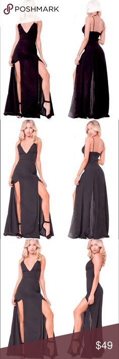 """""""Sophie"""" Double Slit Empire-Waist Maxi Dress 💕 The """"Sophie"""" dress is a long, double slit maxi dress. Dress has a back zipper and empire waist for an ultra flattering fit. Straps not adjustable, top is meant to have a fairly deep-v in terms of fit. Dress is very long (3-4 inches of drag on me at 5'2). As in model photos, however, dress is meant to fit long. 😊 Dresses Maxi"""