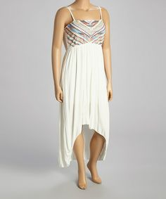 Another great find on #zulily! Off-White Brocade Hi-Low Dress - Women & Plus by Shoreline #zulilyfinds