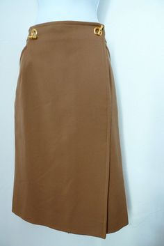 Vintage HERMES wool cashmere skirt with gilt by theStitchkeeper, $285.00