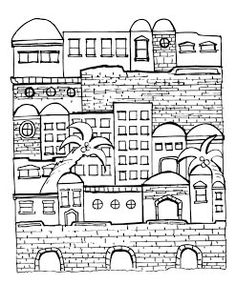 Jewish Art, Religious Art, Jerusalem, Arte Judaica, Colouring Pages, Coloring Books, Learn Hebrew, The Good Shepherd, Art Lessons Elementary