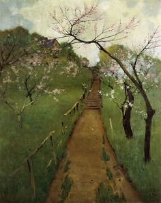 Arthur Wesley Dow American) - Spring Landscape With A Farmer And White Horse, 1892 (University of Michigan Museum of Art) Paintings: Oil on Canvas Spring Landscape, Landscape Art, Landscape Paintings, Art Paintings, Mary Cassatt, Illustration Art, Illustrations, Landscape Illustration, Monet
