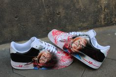 Custom Painted Nike Air Force Ones Chucky -Original Nike Air Force Ones including Painting as shown in the Pics -All Sizes -Painted with specific leather colours that will stay forever on the shoes and doesnt crack or peel Cute Nike Shoes, Nike Air Shoes, Nike Air Max, Custom Vans Shoes, Custom Painted Shoes, Custom Sneakers, Air Force One Shoes, Nike Air Force Ones, Vans Shoes Fashion