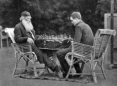 Leo Tolstoy playing chess with the son of his friend and publisher Vladimir Chertkov who took this picture in 1907.