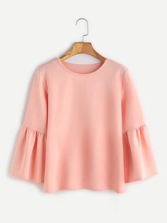 SheIn offers Pink Round Neck Bell Sleeve Blouse & more to fit your fashionable needs. Bell Sleeve Top Outfit, Bell Sleeve Blouse, Blouse Neck, Bell Sleeves, Casual Tops For Women, Blouses For Women, Casual Fall Outfits, Cute Outfits, Casual Wear