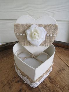 Ring Bearer Box  Heart Shapped Ring Bearer Box by RusticBella - 2 boxes, the second decorated more masculine
