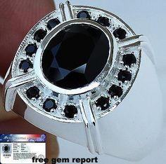 MEN'S NATURAL 5.20 cts BLACK SPINEL RING 100% SOLID 925SS S#11.5 No Reserve #JPS #Gents
