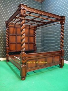 sophisticated super king size 6 carved mahogany four 4 poster tudor canopy bed - Marble Canopy 2015