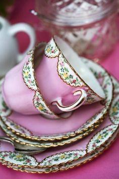 Pink teacups. Rent vintage china.  www.vintagedishrental.com