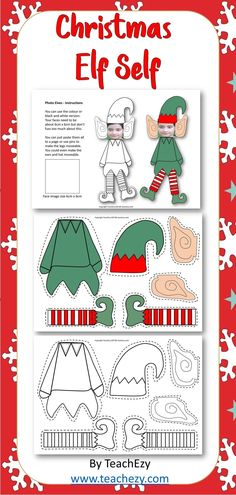 Christmas Elf Self. Create your own elf with your face. Free for members of TeachEzy or TeachEzy Early Childhood. Also available as part of the Christmas Pack Preschool to Year 2 found in our SHOP on TeachEzy or you will find it in store on TPT. Christmas Classroom Door, Preschool Christmas, Christmas Activities, Christmas Crafts For Kids, Christmas Elf, Christmas Projects, Holiday Crafts, Holiday Fun, Homemade Christmas