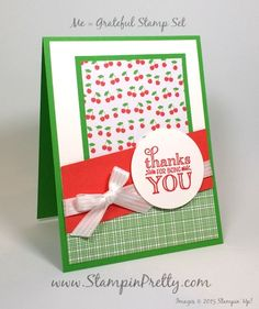 Stampin' Up! Me = Grateful Thank You Card - http://stampinpretty.com/2015/07/stampin-up-me-grateful-thank-you-card.html Luscious cherries and Stampin' Up! Me = Grateful stamp set define this thank you card.  Learn more on my Stampin' Pretty demonstrator blog.  Mary Fish