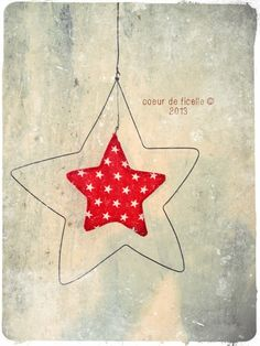 Estrella de tela y alambre - Tissue paper and wire star. Christmas Makes, Christmas Mood, Noel Christmas, Christmas Crafts, Christmas Decorations, Xmas, Christmas Ornaments, Holiday, Craft Projects