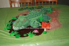 Homemade Swamp Alligator 5th Birthday Cake: My now 5 year old loves the show Swamp People that comes on The History Channel.  So for his 5th birthday I decided that I would make him is own Swamp.