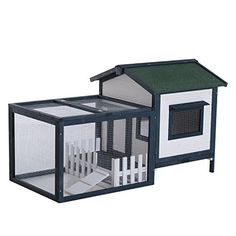 Pawhut 59 And Rdquo; Wooden Rabbit Hutch With Outdoor Run - Green/White Guinea Pig Hutch, Guinea Pig House, Bunny Hutch, Pet Guinea Pigs, Metal Chicken, Bunny Cages, Small Animal Cage, Wooden Rabbit, Urban Chickens