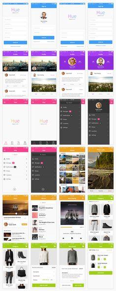 Hue_All_Screens. User Interface Design, Ui Ux Design, Tool Design, Mobile App Design, Mobile Ui, Seo Packages, Seo Analysis, Flat Ui, Ui Design Inspiration