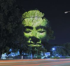 You can do fascinating things with large projections on buildings or on a tree, like this example.