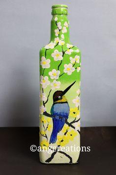 Painted Glass Bottles, Plastic Bottle Crafts, Wine Bottle Art, Wine Bottle Crafts, Mirror Crafts, Art N Craft, Bottle Painting, Diy Canvas Art, Button Crafts