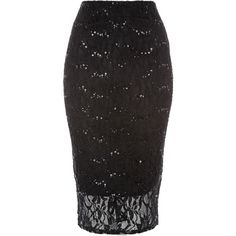 Jane Norman Black Sequin Lace Pencil Skirt (15.430 HUF) ❤ liked on Polyvore