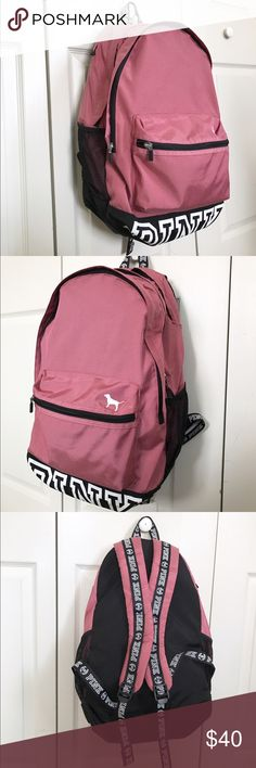 """Pink Backpack Pink Backpack, only used 3 months for school. Great campus backpack. Has 3 compartments, laptop sleeve big enough for a 15"""" MacBook, cupholders on each side, and adjustable padded straps. PINK Victoria's Secret Bags Backpacks"""