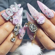 How to Do Acrylic Nail Art for Short Nails? Your fantastic acrylic nail art can be performed from very different materials. 3d Nail Art, 3d Acrylic Nails, 3d Nails, Cool Nail Art, Art 3d, Nail Arts, Bling Nails, Pastel Nails, Bling Bling