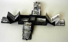 Fantasmagoria by Alex Sutherland. An asymetrical box with 3 concertina books. 24 x 19 x 5 cm. Card, paper, acetate, ink drawing