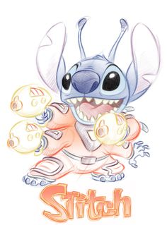 Stitch Sketch by Pedro Astudillo Disney Pixar, Disney Animation, Disney Art, Disney Characters, Lilo And Stitch 2002, Lilo Y Stitch, 626 Stitch, Disney Stitch, Easy Disney Drawings