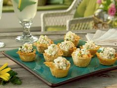 Mini Phyllo Cups Filled with Shrimp Salad Recipe | Paula Deen | Food Network Finger Food Appetizers, Appetizer Dips, Appetizer Recipes, Finger Foods, Shrimp Appetizers, Phyllo Cups, Phyllo Dough, Shrimp Salad Recipes, Seafood Recipes