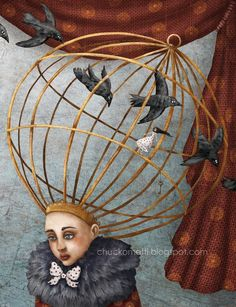 """Dumb Laws UK - A law passed in making it illegal for women to """"cause a nuisance with abusive or argumentative language"""".The punishment was to wear a metal cage, enclosing her head. The law was not abolished until The Caged Bird Sings, Birds And The Bees, Surrealism Photography, Human Soul, Dream Art, Surreal Art, New Artists, Bird Cage, Funny Faces"""
