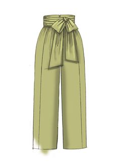 McCall's high-waisted, wide leg pants sewing pattern M766: Misses' Pants with Panel, Tie, and Belt Variations