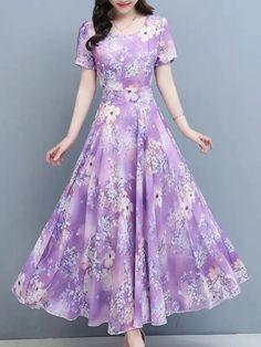 Buy Maxi Dresses Online, Cheap Maxi Dresses, Mid Length Dresses, Short Sleeve Dresses, Ice Dresses, Mi Long, Purple Dress, Chiffon Tops, Beautiful Outfits