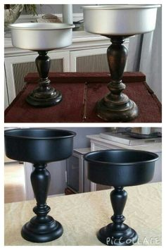 Super glued 2 small cake pans to 2 old candleholders and spray painted them flat black! Apothecary Jars Decor, Thrift Store Crafts, Dollar Tree Crafts, Tray Decor, Deco Table, Diy Projects To Try, Small Cake, Diy Furniture, Fall Decor