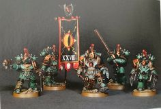 Sons of Horus Praetor with command squad Military Art, Military History, Sons Of Horus, The Horus Heresy, Tyranids, Warhammer 40000, Paint Schemes, Space Marine, Wolves