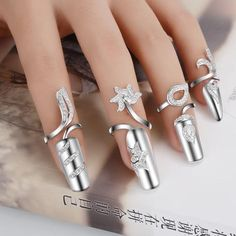 Nail - Flower And Leaf Design Fingernail Top Adjustable Crystal From Swarovski - The Sparkle Place