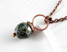 Wire Wrapped Pendant Black Necklace Copper by PolymerPlayin